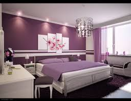 purple shade dark purple bedroom walls queen bed on soft rug completed black