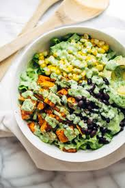 vegetarian dressing for thanksgiving spicy southwestern salad with avocado dressing recipe pinch of yum