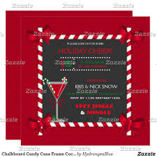 chalkboard candy cane frame cocktail holiday party card