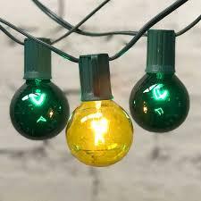 Yellow C9 Lights 25 Ft Green C9 String Light With G50 Green Yellow Bulbs
