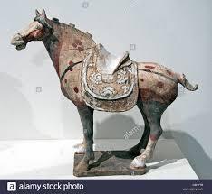 horse saddle horse saddle polychrome ceramic pottery tang dynasty 8 century