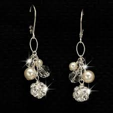 cluster earrings swarovski and pearl cluster earrings wedding jewelry for