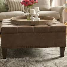 Large Tufted Leather Ottoman Leather Tufted Ottoman Coffee Table Park Park Leather Tufted