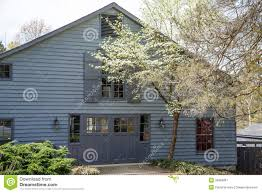 old grey house behind white dogwood royalty free stock photography
