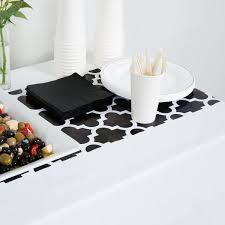 black and white table runners cheap converting 317332 14 x 84 black and white plastic table runner