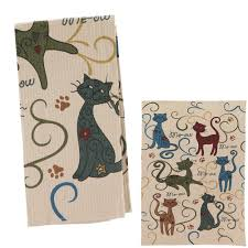 festival cats kitchen towels set of 2 the animal rescue site