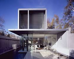 modern concrete house with hardwood floor large window stock save