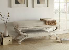 crowned seat white upholstered bench seat with wood solid timber frame
