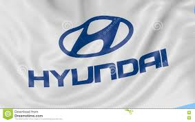 hyundai logo close up of waving flag with hyundai motor company logo seamless