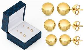 stud gold 14k gold stud earrings 3 pack groupon