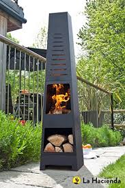 Cooking On A Chiminea La Hacienda Skyline Black Steel Garden Chiminea With Laser Cut