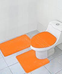 Orange Bathroom Rugs by Amazon Com Hailey 3 Piece Bath Rug Set Orange Home U0026 Kitchen