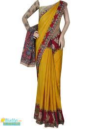 Yellow Mustard Color Buy Mustard Yellow Color Kalamkari Printed Silk Saree With Printed