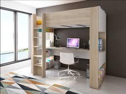 lit superposé avec bureau lit mezzanine noah avec bureau rangements intégrés 90x200cm