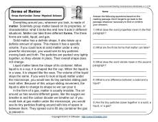 forms of matter 3rd grade reading reading comprehension and