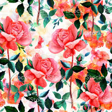 Roses And Butterflies - seamless pattern with watercolor roses and butterflies stock