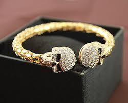 bracelet gold skull images Vintage double skull skeleton gold bangle bracelet jpg