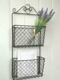 Shabby Chic Wire Baskets by Details About Shabby Chic Wall Letter Rack Storage Basket Unit