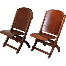Vintage Wood Chairs Nice Pair Vintage Wooden Folding Chairs Theater Seats From