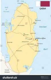 Doha Map Qatar Road Map Flag Stock Vector 285363761 Shutterstock