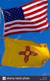 New Mexican Flag United States And New Mexico State Flag New Mexico Usa Stock