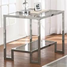 Chrome And Glass Sofa Table Cordele Silver Chrome And Glass Sofa Table