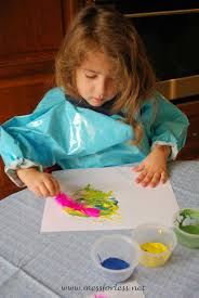 painting with feathers mess for less