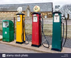 old fashioned petrol pumps at a garage in the black country living