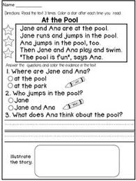 first grade reading comprehension passages fiction this