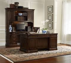 Office Desk Sets Paneled Wood Desk Home Office Furniture Set In Medium Walnut