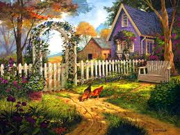 penny parker art love this cottage with the white picket fence