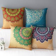 Home Decor Cushions Elegant Cotton Indian Style Pattern Cushion Seat 45cmx45cm Square