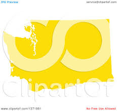 Map Of The State Of Washington by Clipart Of A Yellow Silhouetted Map Shape Of The State Of
