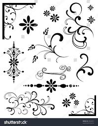 set black white ornaments stock vector 28553657