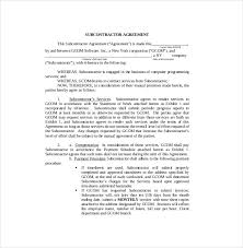 10 subcontractor agreement templates u2013 free sample example