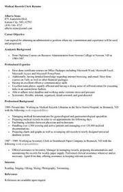 Sample Resume For Clerical Position by Download Medical Records Resume Haadyaooverbayresort Com