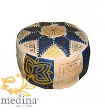 blue and white ottoman buy elegant leather fessi ottomans online ivory and navy blue pouffe