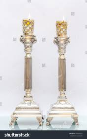 shabbas candles shabbat candles silver candlesticks olive stock photo