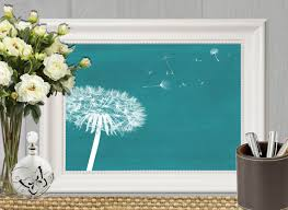 dandelion print teal home decor teal bedroom decor large teal