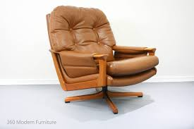 Mid Century Leather Chairs Mid Century Tessa Swivel Armchair Retro Vintage Leather Lounge