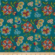 tucson beaded floral turquoise discount designer fabric fabric com