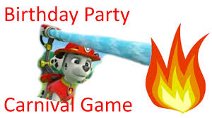 paw patrol birthday party carnival game bean bag fire