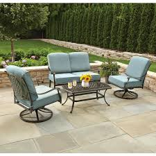 Patio Furniture Metal Hampton Bay Belcourt 4 Piece Metal Patio Conversation Set With Spa