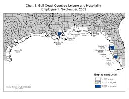 louisiana map with counties gulf coast leisure and hospitality employment and wages