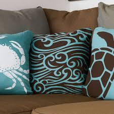 wave cocoa organic cotton throw pillows