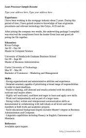 Sample Loan Processor Resume Resume Sample Archives Resumedoc
