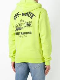 off white logo print hoodie yellow men clothing hoodies off white