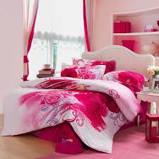 Girls Bedroom Bedding | red white and pink antique kumala rose pattern full queen size