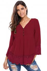 burgundy blouse fashion burgundy lace detail button up sleeved blouse