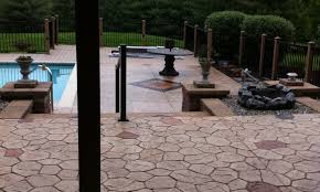 decorating swimming pool design using stamped concrete patio